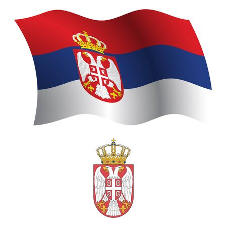 serbia wavy flag and coat of arm against white background, vector art illustration, image contains transparency