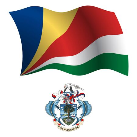 seychelles: seychelles wavy flag and coat of arm against white background, vector art illustration, image contains transparency Illustration