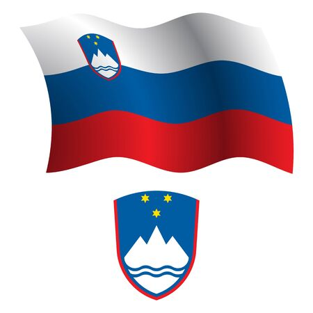 slovenia wavy flag and coat of arm against white background, vector art illustration, image contains transparency Vector