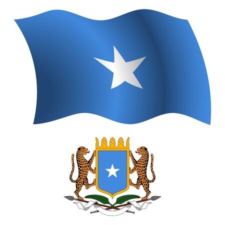 somalia wavy flag and coat of arm against white background, vector art illustration, image contains transparency