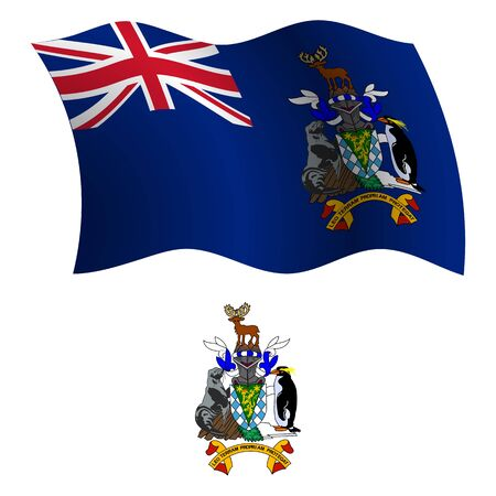 sandwich white background: south georgia and south sandwich islands wavy flag and coat of arm against white background, vector art illustration, image contains transparency