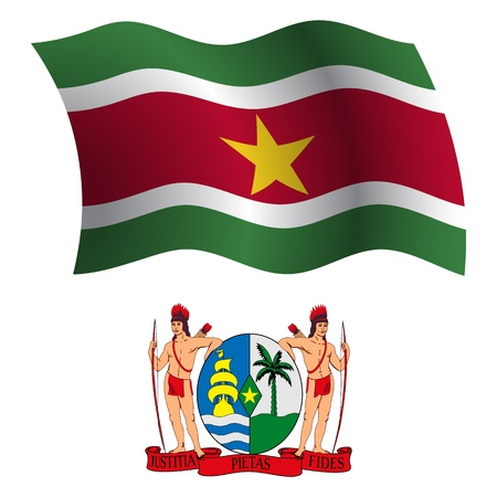 suriname wavy flag and coat of arm against white background, vector art illustration, image contains transparency