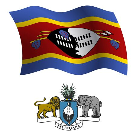 swaziland wavy flag and coat of arm against white background, vector art illustration, image contains transparency Stock Vector - 21371031