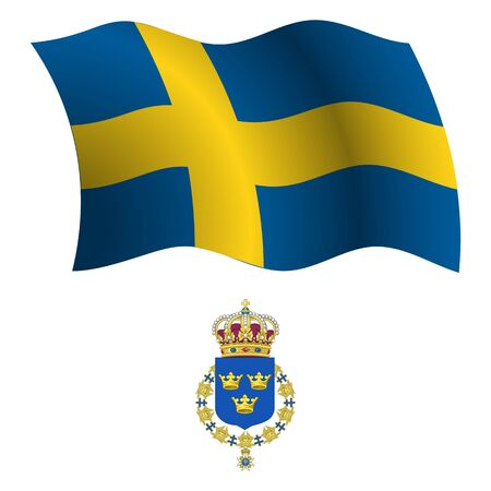 sweden wavy flag and coat of arm against white background, vector art illustration, image contains transparency Stock Vector - 21371032