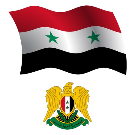 syria wavy flag and coat of arm against white background, vector art illustration, image contains transparency Stock Vector - 21371034