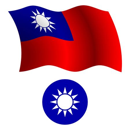 taiwan wavy flag and coat of arm against white background, vector art illustration, image contains transparency Illusztráció