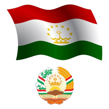 tajikistan wavy flag and coat of arm against white background, vector art illustration, image contains transparency