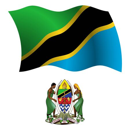tanzania wavy flag and coat of arm against white background, vector art illustration, image contains transparency 向量圖像