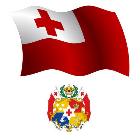 tonga wavy flag and coat of arm against white background, vector art illustration, image contains transparency