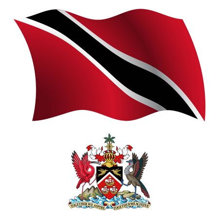 trinidad and tobago wavy flag and coat of arm against white background, vector art illustration, image contains transparency Vector