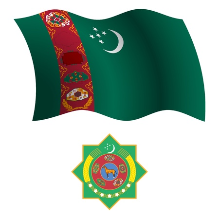 turkmenistan wavy flag and coat of arm against white background, vector art illustration, image contains transparency Vector