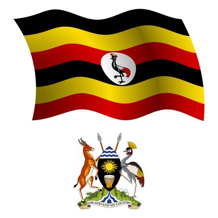 uganda wavy flag and coat of arm against white background, vector art illustration, image contains transparency