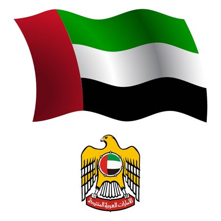 united arab emirates wavy flag and coat of arm against white background, vector art illustration, image contains transparency