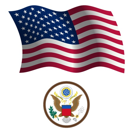 old flag: united states wavy flag and coat of arms against white background, vector art illustration, image contains transparency Illustration