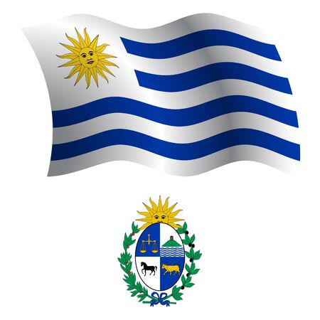 uruguay wavy flag and coat of arm against white background, vector art illustration, image contains transparency Vector