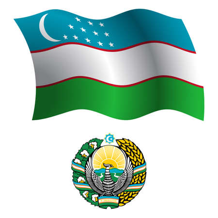 white coat: uzbekistan wavy flag and coat of arm against white background, vector art illustration, image contains transparency