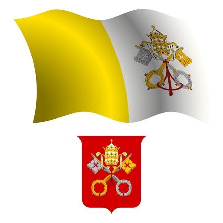 Ciudad del vaticano ondulado bandera y escudo de brazo contra el fondo blanco, ilustraci?n de arte vectorial, la imagen contiene transparencias Foto de archivo - 21371136