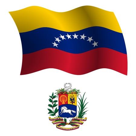 venezuela wavy flag and coat of arm against white background, vector art illustration, image contains transparency Illustration