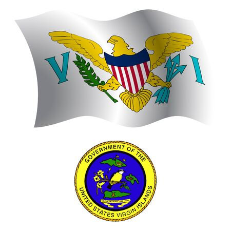 virgin islands: virgin islands wavy flag and coat of arm against white background, vector art illustration, image contains transparency