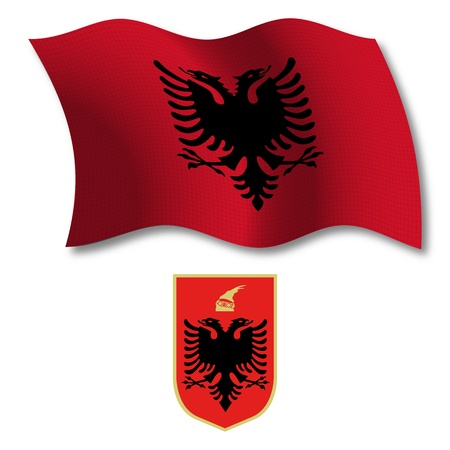 white coat: albania shadowed textured wavy flag and coat of arms against white background, vector art illustration, image contains transparency