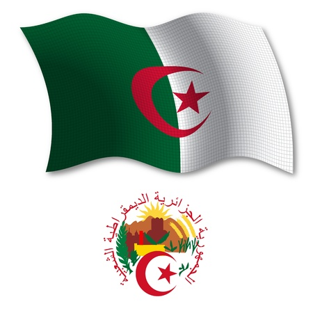 algeria shadowed textured wavy flag and coat of arms against white background, vector art illustration, image contains transparency
