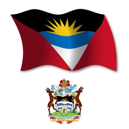 antigua and barbuda shadowed textured wavy flag and coat of arms against white background, vector art illustration, image contains transparency