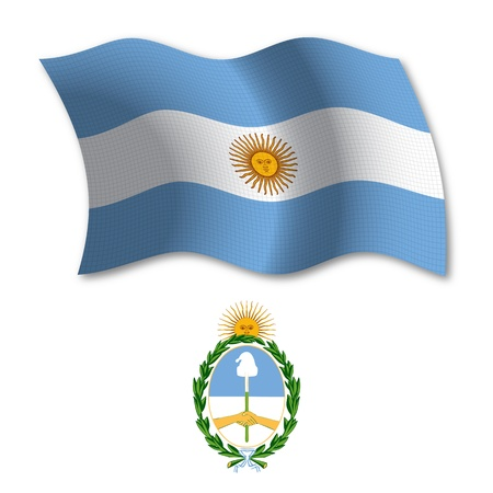 argentina shadowed textured wavy flag and coat of arms against white background, vector art illustration, image contains transparency transparency