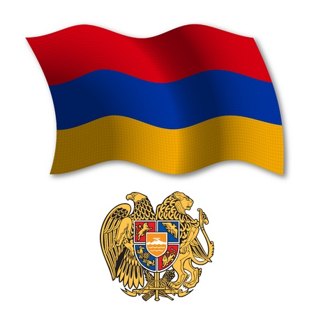armenia shadowed textured wavy flag and coat of arms against white background, vector art illustration, image contains transparency transparency