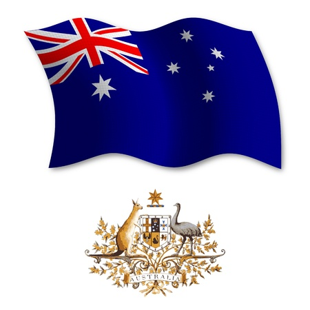 australia shadowed textured wavy flag and coat of arms against white background, vector art illustration, image contains transparency transparency Illustration