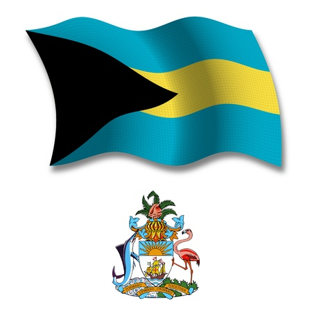 shadowed: bahamas shadowed textured wavy flag and coat of arms against white background, vector art illustration, image contains transparency transparency