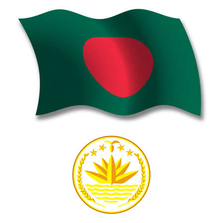 bangladesh shadowed textured wavy flag and coat of arms against white background, vector art illustration, image contains transparency transparency Illusztráció