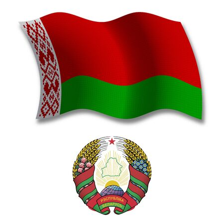 belarus shadowed textured wavy flag and coat of arms against white background, vector art illustration, image contains transparency transparency