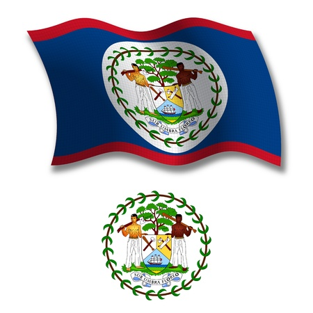 shadowed: belize shadowed textured wavy flag and coat of arms against white background, vector art illustration, image contains transparency transparency Illustration