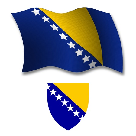 bosnia and herzegovina shadowed textured wavy flag and coat of arms against white background, vector art illustration, image contains transparency transparency