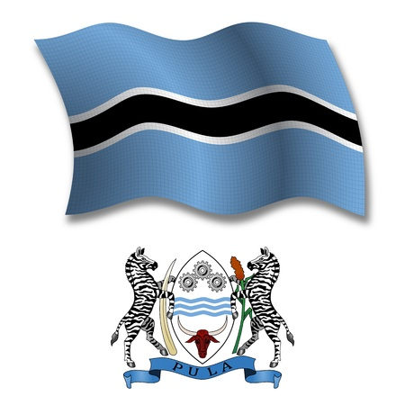 botswana shadowed textured wavy flag and coat of arms against white background, vector art illustration, image contains transparency transparency Иллюстрация