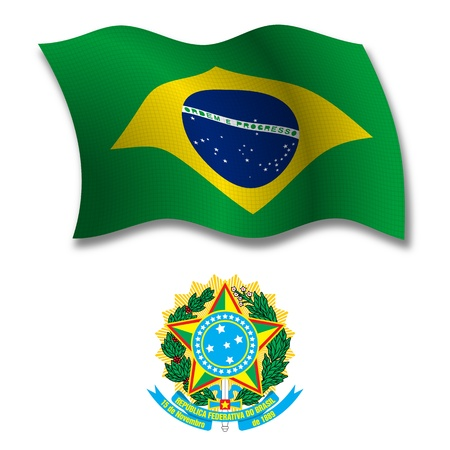 brasil shadowed textured wavy flag and coat of arms against white background, vector art illustration, image contains transparency transparency 向量圖像