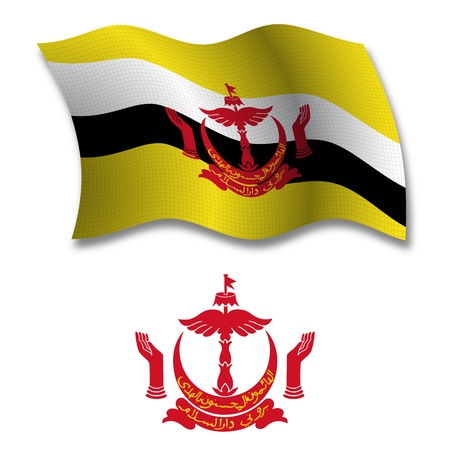 brunei shadowed textured wavy flag and coat of arms against white background, vector art illustration, image contains transparency transparency
