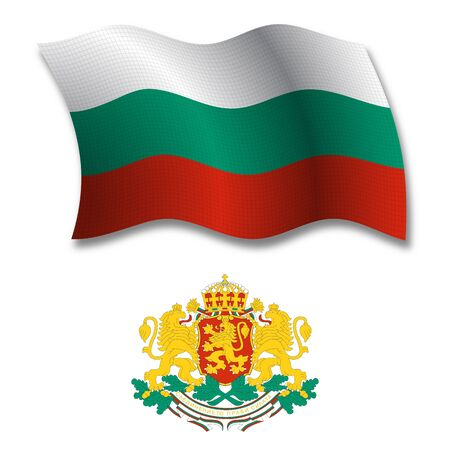 bulgaria shadowed textured wavy flag and coat of arms against white background, vector art illustration, image contains transparency transparency