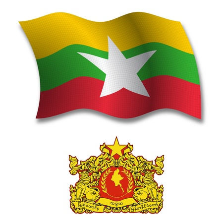 burma shadowed textured wavy flag and coat of arms against white background, vector art illustration, image contains transparency transparency Иллюстрация