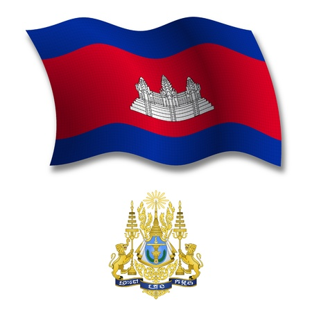 cambodia shadowed textured wavy flag and coat of arms against white background, vector art illustration, image contains transparency transparency