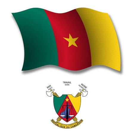 Cameroon shadowed textured wavy flag and coat of arms against white background, vector art illustration, image contains transparency transparency