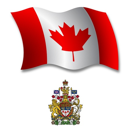 canada shadowed textured wavy flag and coat of arms against white background, vector art illustration, image contains transparency transparency