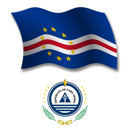 white coat: cape verde shadowed textured wavy flag and coat of arms against white background, vector art illustration, image contains transparency transparency