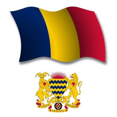 chad: chad shadowed textured wavy flag and coat of arms against white background, vector art illustration, image contains transparency transparency Illustration