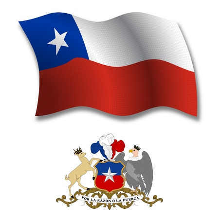 chile shadowed textured wavy flag and coat of arms against white background, vector art illustration, image contains transparency transparency Иллюстрация