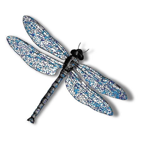dragonfly against white background, abstract vector art illustration, image contains transparency