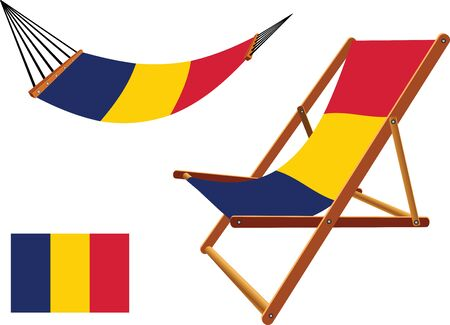chad hammock and deck chair set against white background, abstract vector art illustration Vector