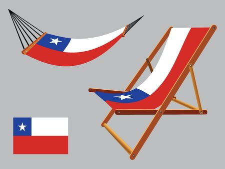 chile hammock and deck chair set against gray background, abstract vector art illustration  イラスト・ベクター素材