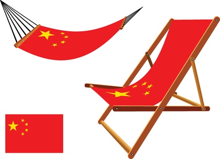 china hammock and deck chair set against white background, abstract vector art illustration