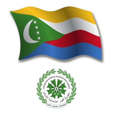 shadowed: comoros shadowed textured wavy flag and coat of arms against white background, vector art illustration, image contains transparency transparency